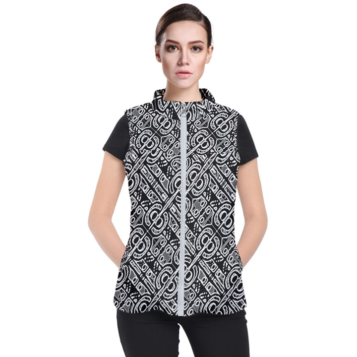 Linear Black And White Ethnic Print Women s Puffer Vest