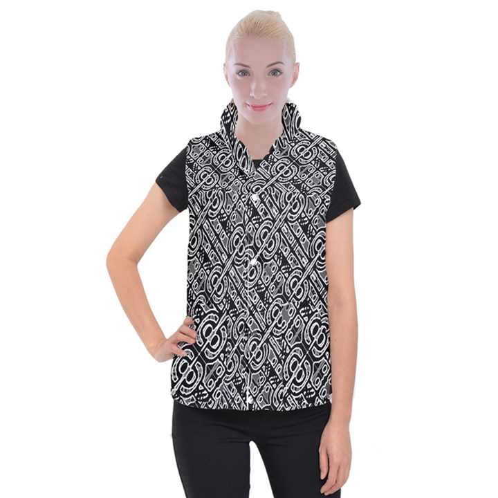 Linear Black And White Ethnic Print Women s Button Up Vest