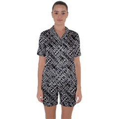 Linear Black And White Ethnic Print Satin Short Sleeve Pyjamas Set by dflcprintsclothing