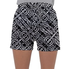 Linear Black And White Ethnic Print Sleepwear Shorts by dflcprintsclothing