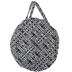 Linear Black And White Ethnic Print Giant Round Zipper Tote