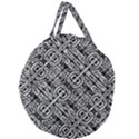 Linear Black And White Ethnic Print Giant Round Zipper Tote View1