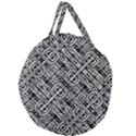Linear Black And White Ethnic Print Giant Round Zipper Tote View2