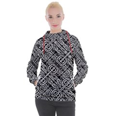 Linear Black And White Ethnic Print Women s Hooded Pullover by dflcprintsclothing