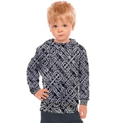 Linear Black And White Ethnic Print Kids  Hooded Pullover by dflcprintsclothing
