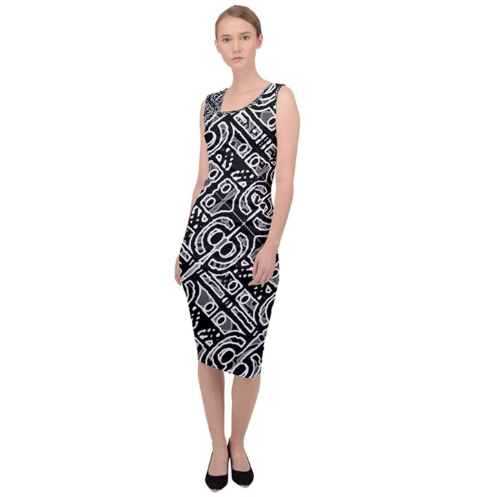 Linear Black And White Ethnic Print Sleeveless Pencil Dress