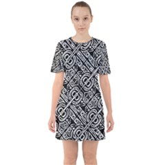 Linear Black And White Ethnic Print Sixties Short Sleeve Mini Dress by dflcprintsclothing
