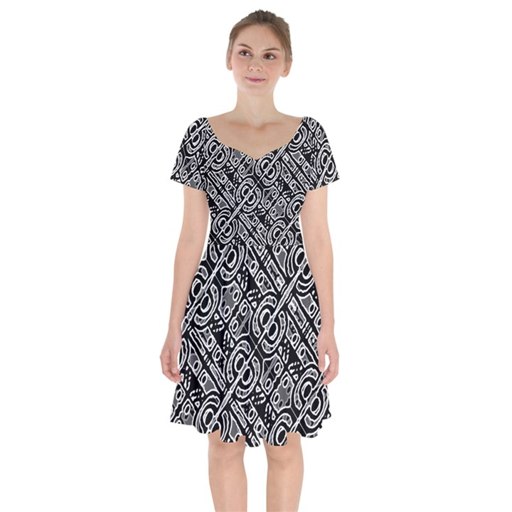 Linear Black And White Ethnic Print Short Sleeve Bardot Dress