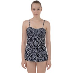 Linear Black And White Ethnic Print Babydoll Tankini Set by dflcprintsclothing