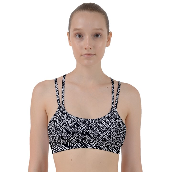 Linear Black And White Ethnic Print Line Them Up Sports Bra