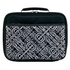 Linear Black And White Ethnic Print Lunch Bag