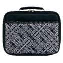 Linear Black And White Ethnic Print Lunch Bag View1
