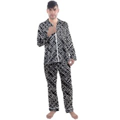 Linear Black And White Ethnic Print Men s Long Sleeve Satin Pyjamas Set by dflcprintsclothing