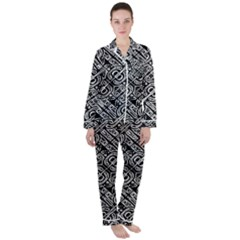 Linear Black And White Ethnic Print Satin Long Sleeve Pyjamas Set by dflcprintsclothing