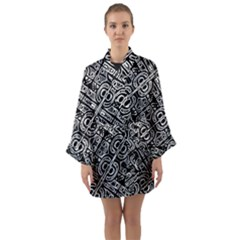 Linear Black And White Ethnic Print Long Sleeve Satin Kimono by dflcprintsclothing