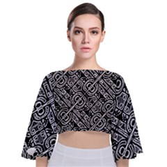 Linear Black And White Ethnic Print Tie Back Butterfly Sleeve Chiffon Top