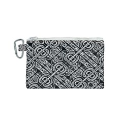 Linear Black And White Ethnic Print Canvas Cosmetic Bag (small)