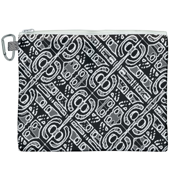 Linear Black And White Ethnic Print Canvas Cosmetic Bag (XXXL)