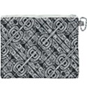Linear Black And White Ethnic Print Canvas Cosmetic Bag (XXXL) View2