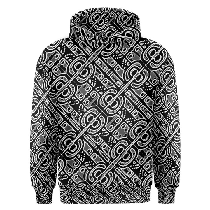 Linear Black And White Ethnic Print Men s Overhead Hoodie