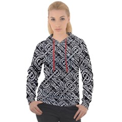 Linear Black And White Ethnic Print Women s Overhead Hoodie by dflcprintsclothing