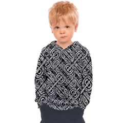 Linear Black And White Ethnic Print Kids  Overhead Hoodie by dflcprintsclothing