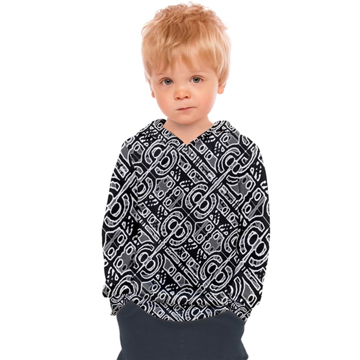 Linear Black And White Ethnic Print Kids  Overhead Hoodie