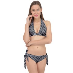 Linear Black And White Ethnic Print Tie It Up Bikini Set by dflcprintsclothing