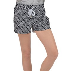 Linear Black And White Ethnic Print Velour Lounge Shorts