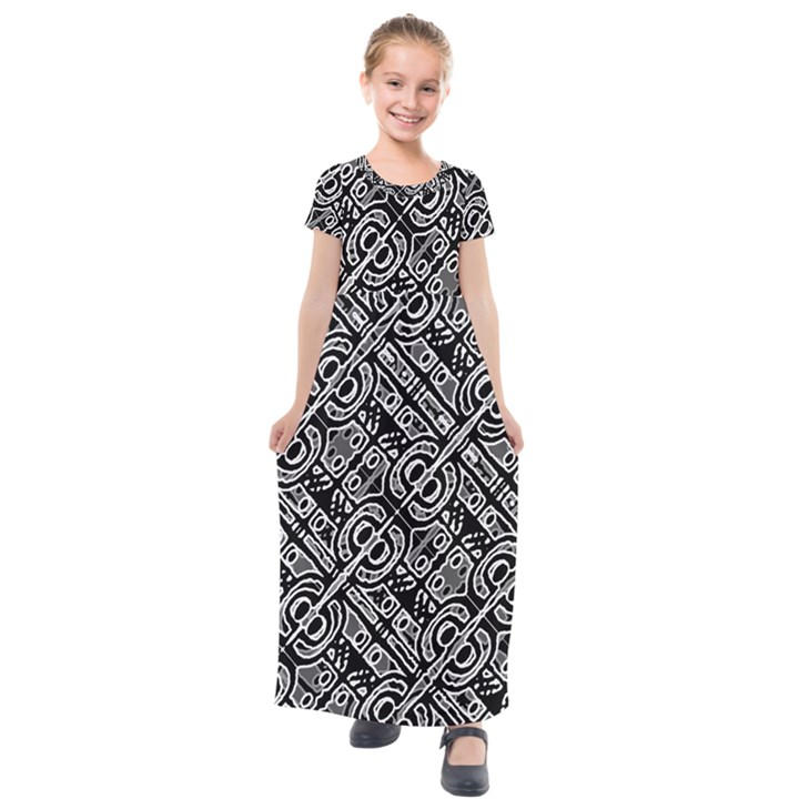 Linear Black And White Ethnic Print Kids  Short Sleeve Maxi Dress