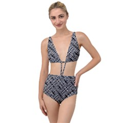 Linear Black And White Ethnic Print Tied Up Two Piece Swimsuit