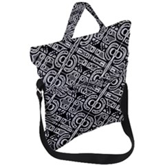Linear Black And White Ethnic Print Fold Over Handle Tote Bag
