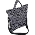 Linear Black And White Ethnic Print Fold Over Handle Tote Bag View1
