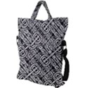 Linear Black And White Ethnic Print Fold Over Handle Tote Bag View2