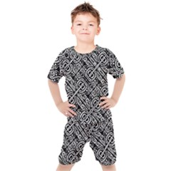 Linear Black And White Ethnic Print Kids  Tee And Shorts Set