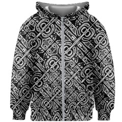 Linear Black And White Ethnic Print Kids  Zipper Hoodie Without Drawstring by dflcprintsclothing