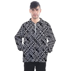 Linear Black And White Ethnic Print Men s Half Zip Pullover by dflcprintsclothing
