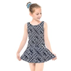 Linear Black And White Ethnic Print Kids  Skater Dress Swimsuit by dflcprintsclothing