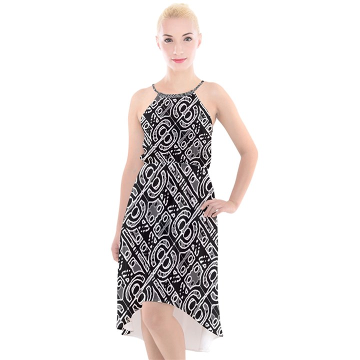 Linear Black And White Ethnic Print High-Low Halter Chiffon Dress