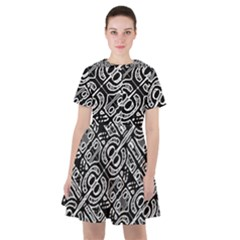 Linear Black And White Ethnic Print Sailor Dress