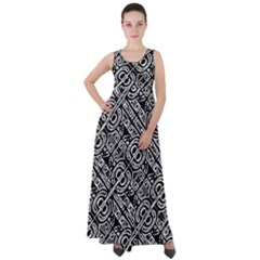 Linear Black And White Ethnic Print Empire Waist Velour Maxi Dress by dflcprintsclothing