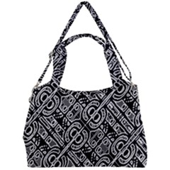 Linear Black And White Ethnic Print Double Compartment Shoulder Bag by dflcprintsclothing