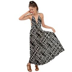 Linear Black And White Ethnic Print Backless Maxi Beach Dress by dflcprintsclothing