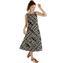 Linear Black And White Ethnic Print Summer Maxi Dress by dflcprintsclothing