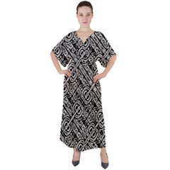 Linear Black And White Ethnic Print V-neck Boho Style Maxi Dress