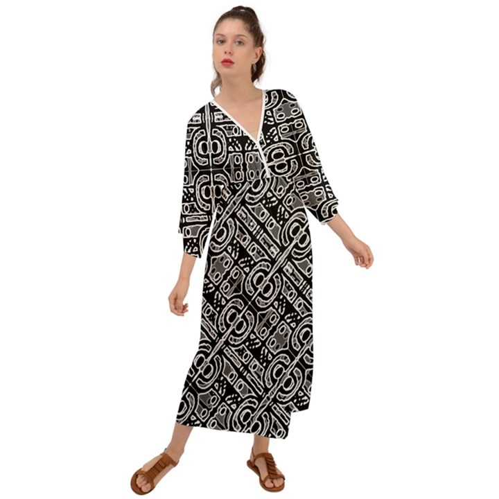 Linear Black And White Ethnic Print Grecian Style  Maxi Dress