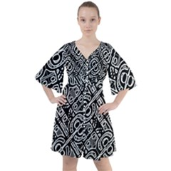 Linear Black And White Ethnic Print Boho Button Up Dress