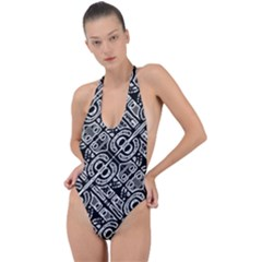 Linear Black And White Ethnic Print Backless Halter One Piece Swimsuit by dflcprintsclothing