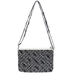 Linear Black And White Ethnic Print Double Gusset Crossbody Bag