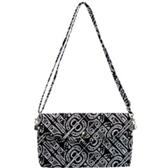 Linear Black And White Ethnic Print Removable Strap Clutch Bag by dflcprintsclothing